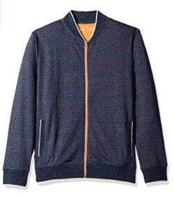 Robert Graham Men's Vagabond Cotton Full Zip Knit, heather navy