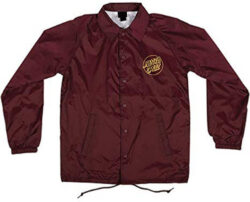 Santa Cruz Men's Opus Dot Coach Windbreaker Jacket, maroon