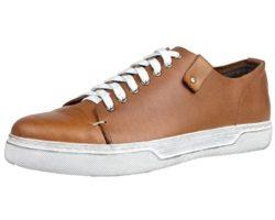 Santimon Men's Sneaker Fashion Retro Punk Rivet Lace-up Leather Casual Shoes