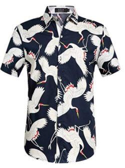 SSLR Men's Cotton Crane Button Down Short Sleeve Casual Hawaiian Shirt, navy