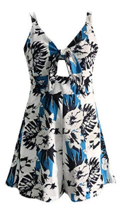 SULEAR New Summer Casual Rompers Women Fashion Print Strap Playsuits Chest Bow Tie Hollow Loose  ...