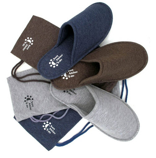 f08fd9bad26 Sunshine Code Men s Cotton Indoor Washable Slippers in Travel Bag for Home  Hotel Spa Bedroom .