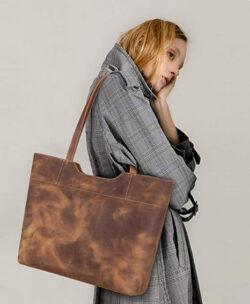 S-ZONE Vintage Genuine Crazy Horse Leather Tote Shoulder Bag Purse with Back Zipper Pocket, ligh ...