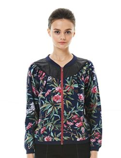 TANGY Women Gambiered Canton Silk Stitching Printing Zip-up Floral Print Bomber Jacket Coat Outwear