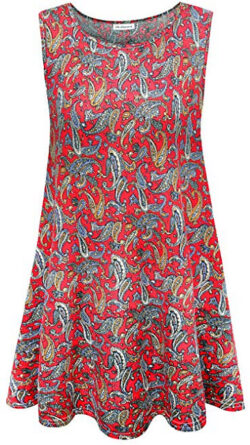 1e7983be6f2ad6 7th Element Plus Size Sleeveless Tunic Flare Flowy Tank Top for Women,  floral print red