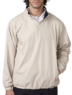 Ultraclub Adult Micro-Poly 1/4-Zip Windshirt, sand