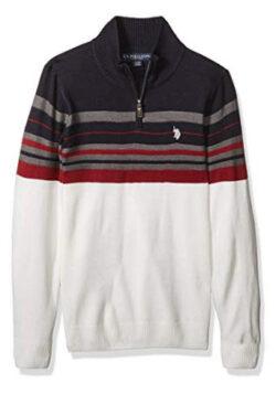 U.S. Polo Assn. Men's Multi Stripe 1/4 Zip Sweater, navy