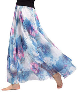 Uwback Women's Floral Chiffon Skirts African Maxi Long Skirt