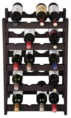 VASAGLE Wood 20 Wine Display Rack, Standing Bottles Storage Shelf, Wobble-Free, Espresso