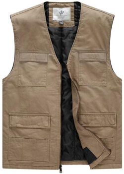 WenVen Men's Winter Cotton Lined V Neck Vest khaki