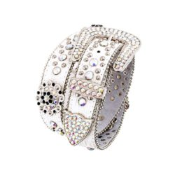 White Leather Belt in a Crocodile Pattern, Decorated with Rhinestones and Silver Studs and Flowe ...