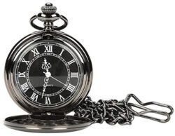 WIOR Black Classical Pocket Watch Retro Steampunk Pattern Quartz Numerals Pocket Watch b