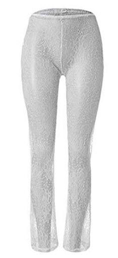 fe1ed2480e Xiaohuoban Women Wide Leg Bell Bottom Lace Cover Up Beach Palazzo Pants,  white
