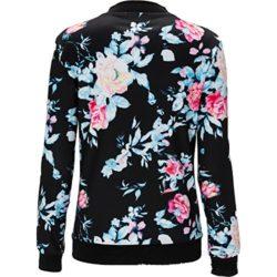 Women's Fashion Floral Print Slim Fit Biker Soft Zipper Short Bomber Jacket Coat by COLINNA