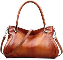 Womens Genuine Leather Handbags Vintage Shoulder Bags DAIZU Cowhide Purse, brown