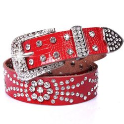 Women's Pin Buckle Rhinestones Genuine Leather Crocodile Waist Belts by ZaBelt