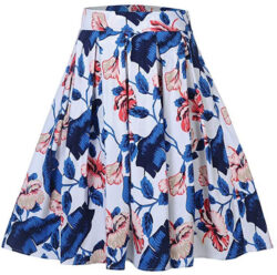 Womens Vintage Floral Print Pleated Flared A-Line Midi Skirt, blue