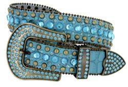 Women's Western Cowgirl Rhinestone Studded Leather Belt 1-1/2″ Wide (Medium, Blue)