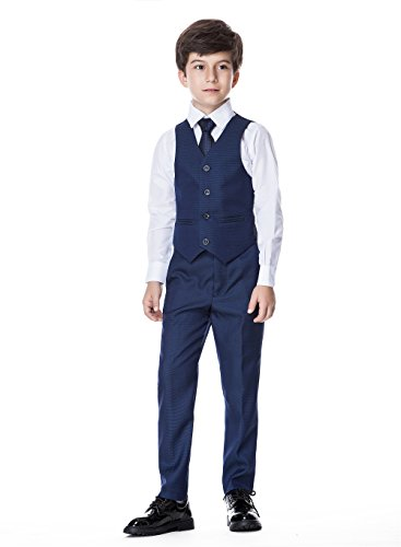 c94edf979 HAN Boys Classic Formal Dress Suits Set 5 Piece Slim Fit Dresswear Suit