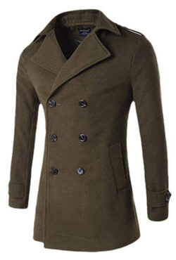 WSPLYSPJY Men's Winter Wool Peacoat Double-Breasted Jacket Windproof Classic Pea Coat
