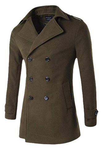 WSPLYSPJY Men's Winter Wool Peacoat Double-Breasted Jacket Windproof Classic Pea Coat