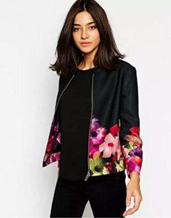 xiaoming Women's Casual Slim Floral Print Baseball Bomber Varsity Jacket Coat