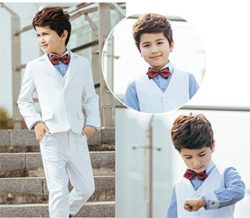 Yanlu 5 Piece Formal White Slim Fit Boy's Suits Sets