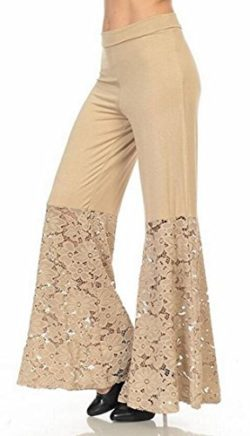 9a7da90ec8 Zago Womens Sexy High Waist Lace Patchwork Palazzo Leggings Pants