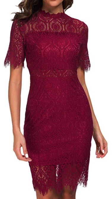 a65dd517a Zalalus Women's Elegant High Neck Short Sleeves Lace Cocktail Party Dress  burgundy