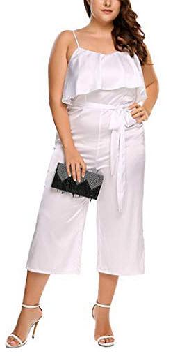 Zeagoo Women's Sexy Casual Plus Size Jumpsuits Sleeveless High Waist Ruffle Pant, white