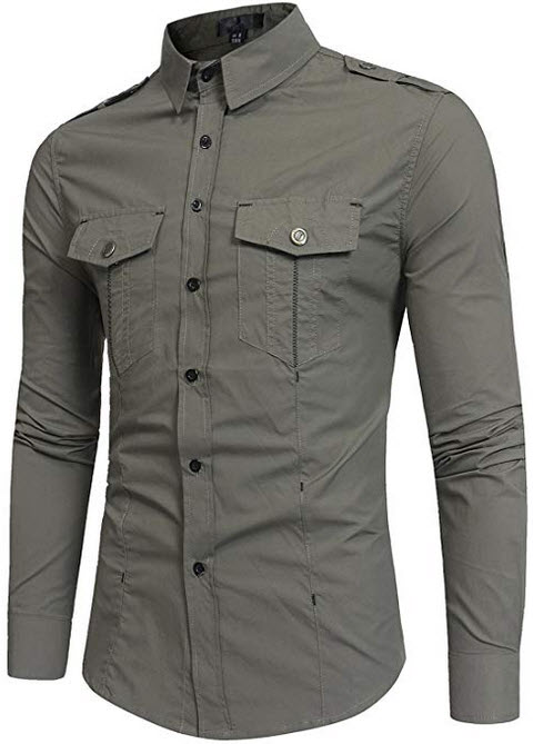 4754688aa ZEROYAA Mens Tactical Epaulet Style Slim Fit Long Sleeve Casual Button Down  Shirts with Pocket a
