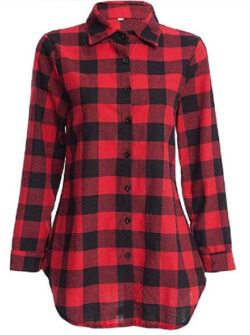 Zimaes-Women Cuffed Sleeve Button-up Blouse Plaid Casual Woven Shirt, red