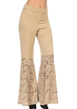 3817d7f833 Zimaes-Women Solid Empire Waist Lace Patchwork Palazzo Wide Leg Pants