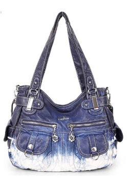 Zzfab 2 Front Pockets Large Soft Washed Leather Shoulder Bag Soft leather Cross Body Bag Z-Blue